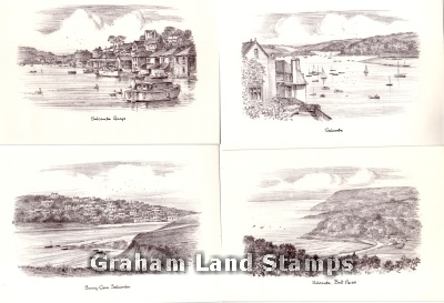 Four Sketch Postcards - Salcombe, Devon