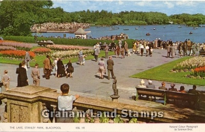 Postcard - The Lake, Stanley Park, Blackpool