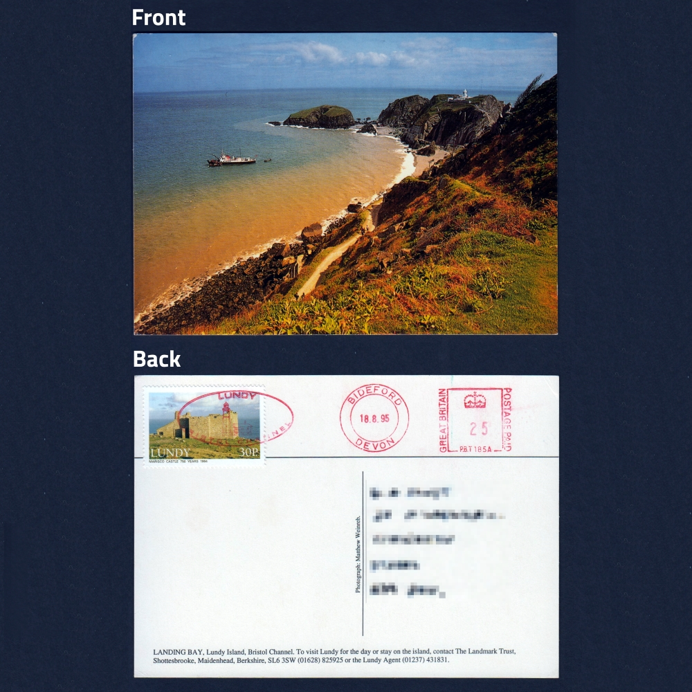 Postcard - Lundy Landing Bay, with 30p Lundy Stamp
