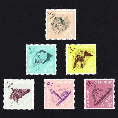 Lundy 1962 Anti Malaria Set (6v, ½p to 12p, U/M)
