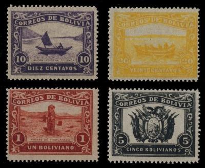 Bolivia 1914 Guaqui to La Paz Railway Unissued Part Set - White Border (4v, 10c to 1b)