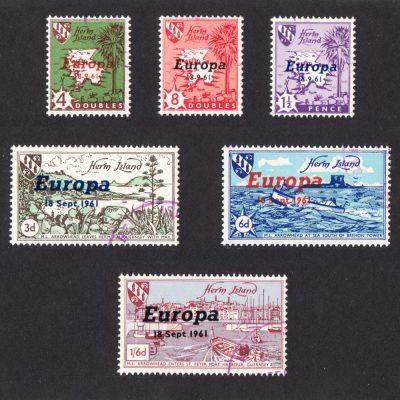Herm Island1961 Europa Overprints (6v, 4db to 1s6d, CTO)