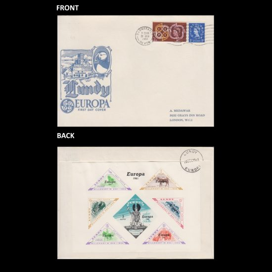 Lundy 1961 Europa First Day Cover (FDC) - Imperforate Set on Generic Europa Cover