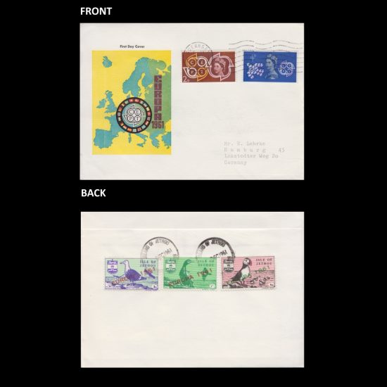 Isle of Jethou 1961 Europa Set on First Day Cover (FDC) - Generic 'Europa 1961' Envelope