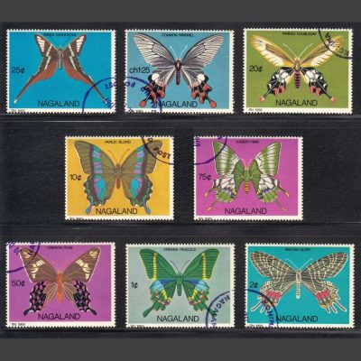 Nagaland 1969 Butterflies Set (8v, 1c to Ch1.25, CTO)