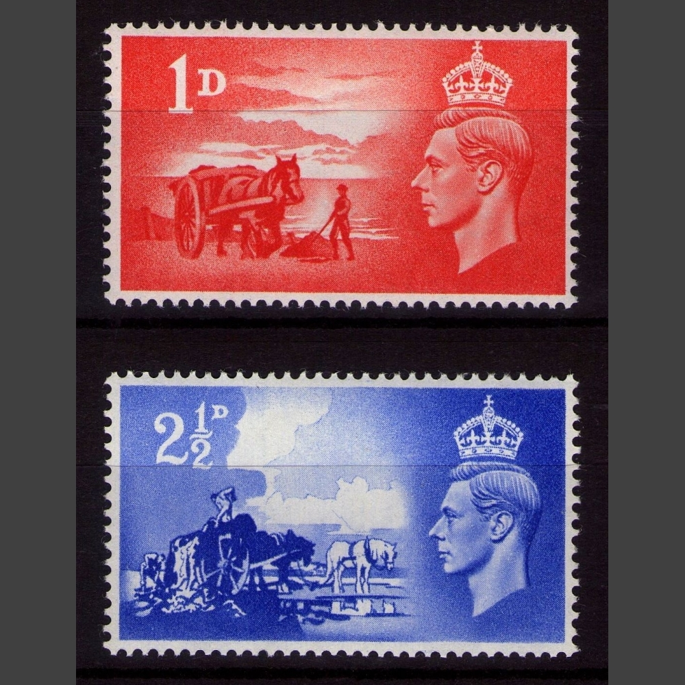 Great Britain 1948 SG C1-C2 Channel Islands General Issue - Third Anniversary of Liberation Set (2v, 1d and 2½d, U/M)