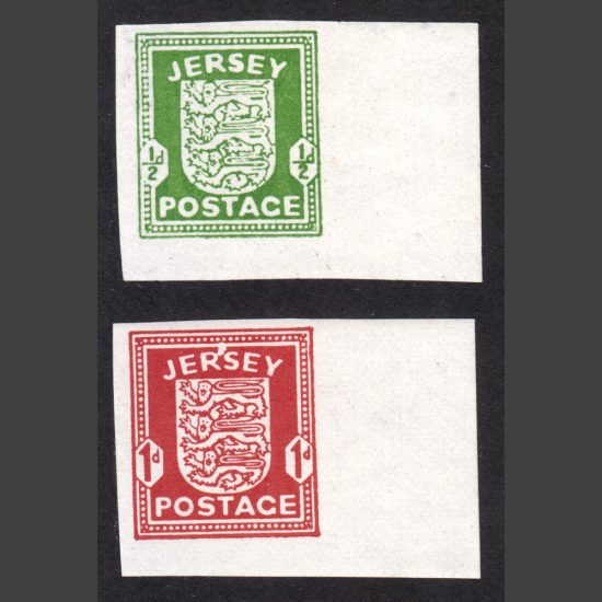 Jersey 1941-42 German Occupation Issue Imperforate Reprint (2v, ½d and 1d, U/M)