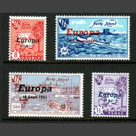 Herm Island 1961 Europa Overprints Part Set (4v, 8db to 1s6d, U/M)