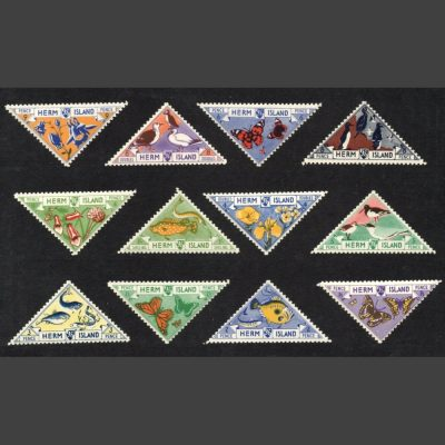 Herm Island 1954 Flora and Fauna Triangulars (12v, 4db to 1s, U/M)