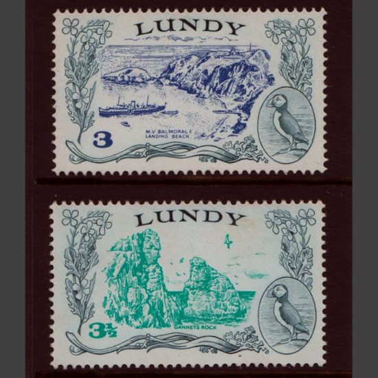 Lundy 1971 Decimal Definitives Part Set (2v, 3p and 3½p, U/M)