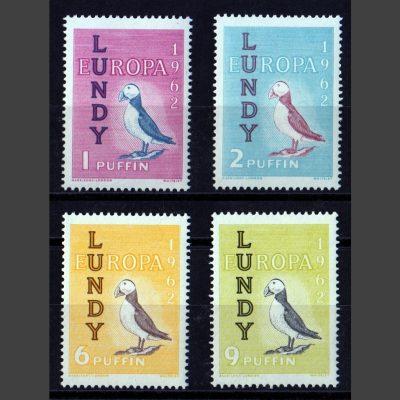 Lundy 1962 Europa Set (4v, 1p to 9p, U/M)