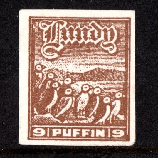 Lundy 1942 9p Puffins Cut-Out from 'Tighearna' Miniature Sheet (U/M, No Gum)
