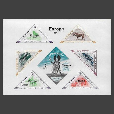 Lundy 1961 Europa Imperforate Miniature Sheet (7v, ½p to 9p, U/M)