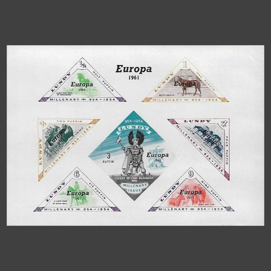 Lundy 1961 Europa Imperforate Miniature Sheet (7v, ½p to 9p, U/M)