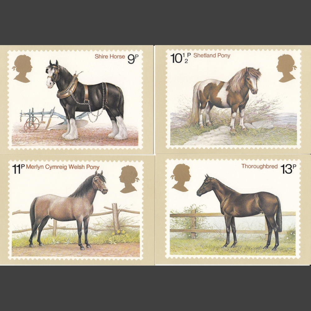 Postcards - Royal Mail PHQ 30 1978 Horses Set (4v)