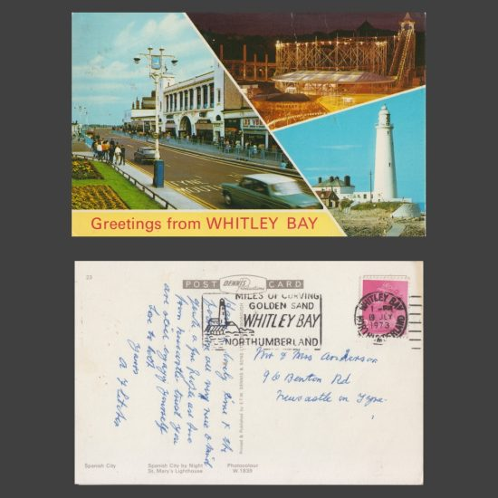 Postcard - Whitley Bay Multiview, feat. Spanish City, St Mary's Lighthouse, 1970s