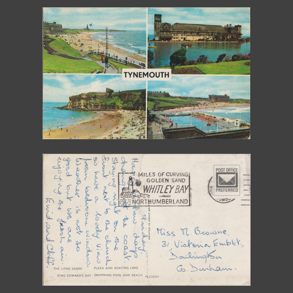 Postcard - Tynemouth Multiview, feat. Plaza, Long Sands, Outdoor Pool, c.1970s