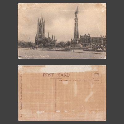 Postcard - Barras Bridge, Newcastle, with St Thomas' Church, c.1910s
