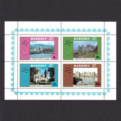 Bardsey 1980 Castles / London 1980 Set in Sheetlet (4v, 8p to 45p, U/M)