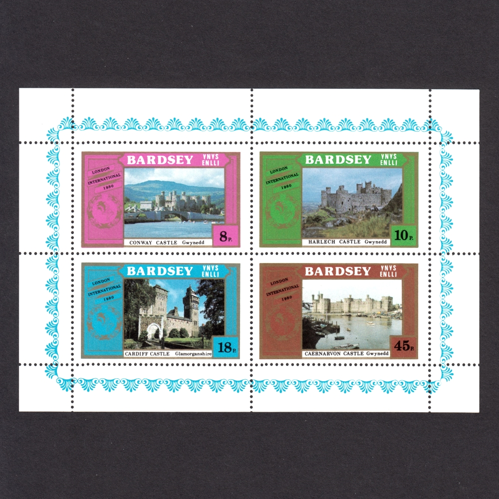 Bardsey 1980 Castles / London 1980 Set in Sheetlet (4v, 8p to 45p, U/M)