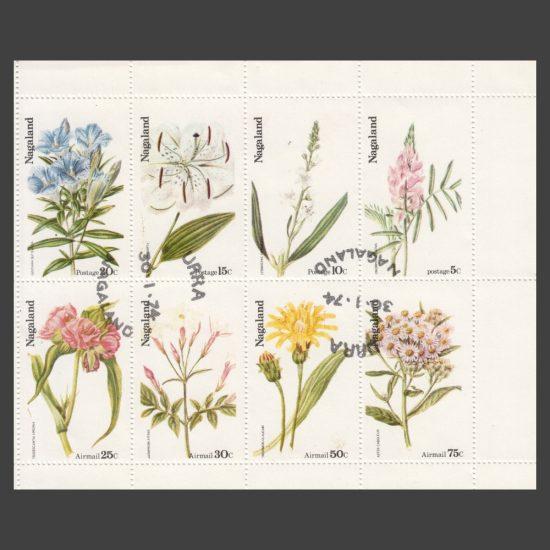 Nagaland 1974 Flowers (8v, 5c to 75c, CTO)