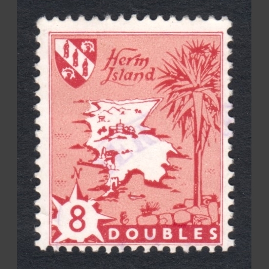 Herm Island 1959 Map Definitives (8d - single value, F/U)