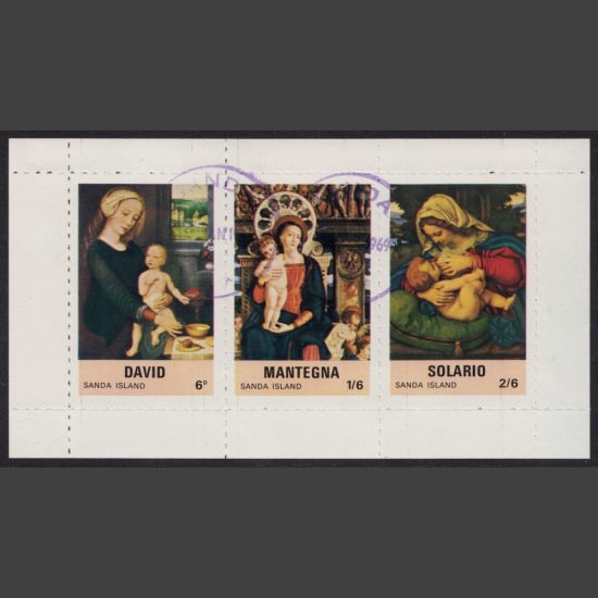 Sanda Island 1969 Religious Paintings Sheetlet (3v, 6d to 2s6d, CTO)