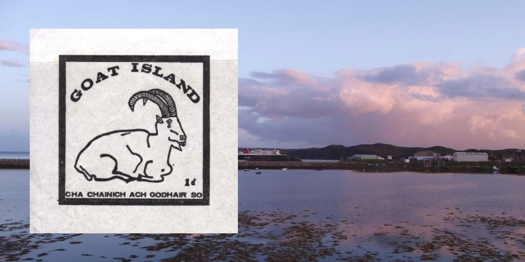 View of Goat Island,. Stornoway with Goat Island label superimposed. Photograph by Dave Conner