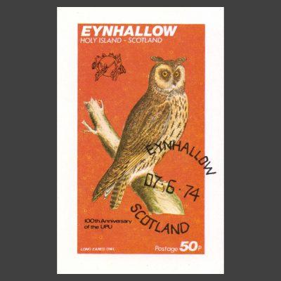 Eynhallow / Holy Island 1974 Owl/UPU Sheetlet (50p)