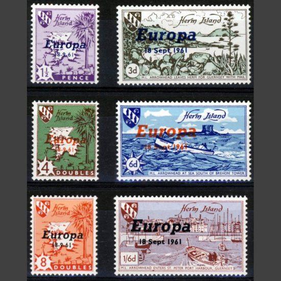 Herm Island1961 Europa Overprints (6v, 4db to 1s6d, U/M)