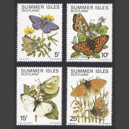Summer Isles 1981 Butterflies of the North West (4v, 5p to 25p, U/M)