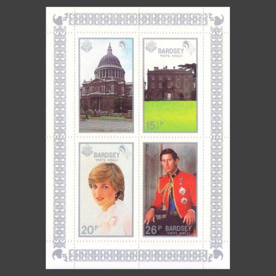 Bardsey 1981 Royal Wedding Set in Sheetlet (4v, 14p to 26p, U/M)