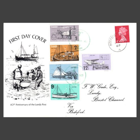 Lundy 1969 40th Anniversary of Lundy Post First Day Cover (FDC)