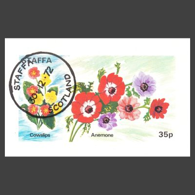 Staffa 1972 Cowslips and Anemone Sheetlet (35p, CTO)