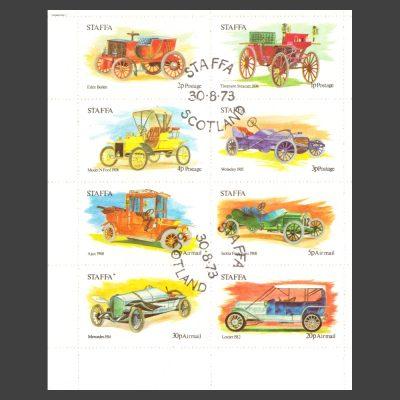 Staffa 1973 Early Cars (8v, 1p to 30p, CTO)