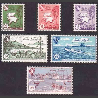 Herm Island 1959 Map and Boat Definitives (6v, 4db to 1s6d, U/M)