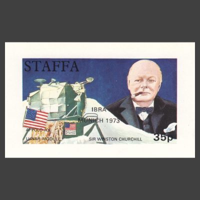 "Staffa 1972 Churchill / Lunar Module Sheetlet with ""IBRA Munich 1973"" Overprint"