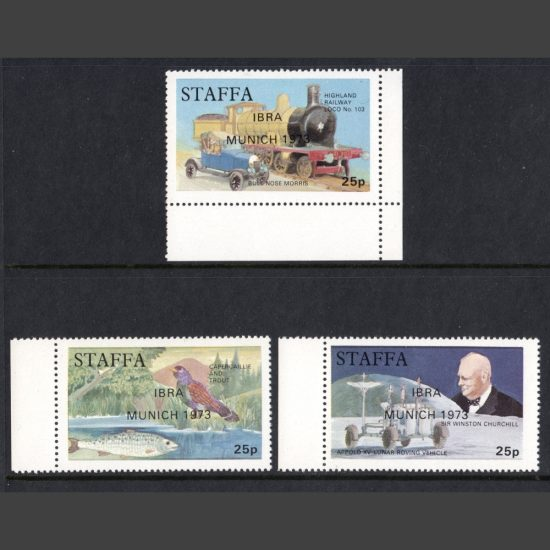 "Staffa 1972 Pictorials x3 with ""IBRA Munich 1973"" Overprint (U/M)"