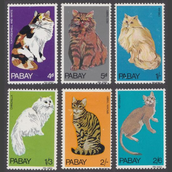 Pabay 1969 Cats (6v, 4d to 2s6d, M/M)