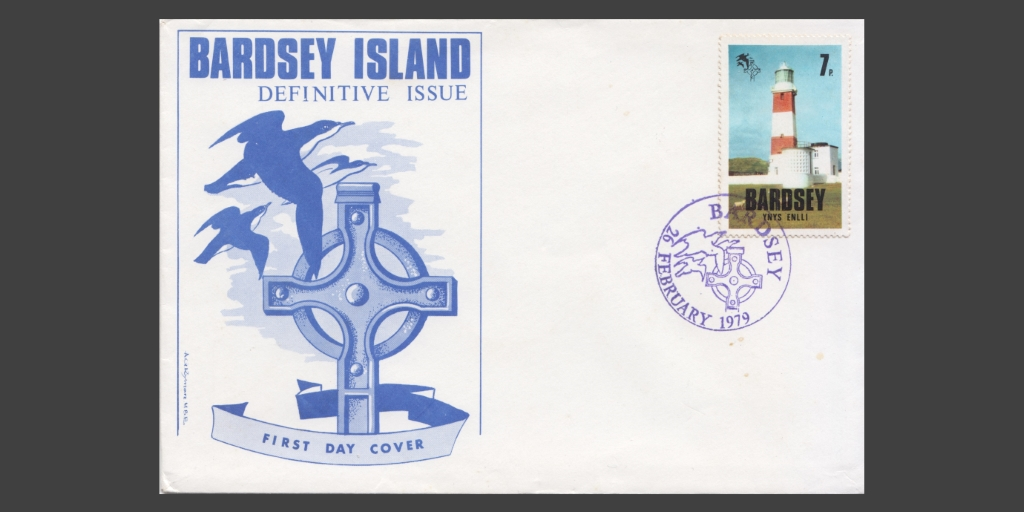 1979 first day cover with 7p stamp featuring Bardsey Lighthouse