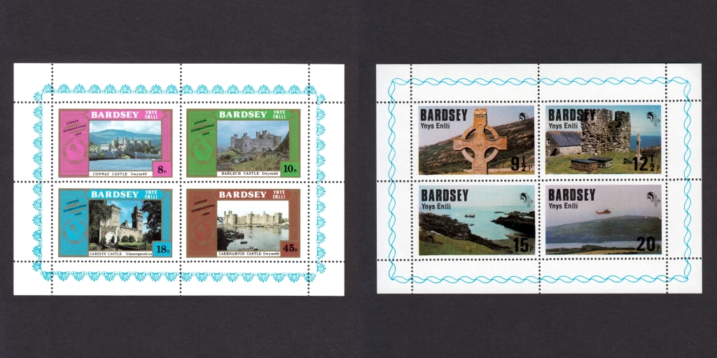 Some of Bardsey's original stamp issues
