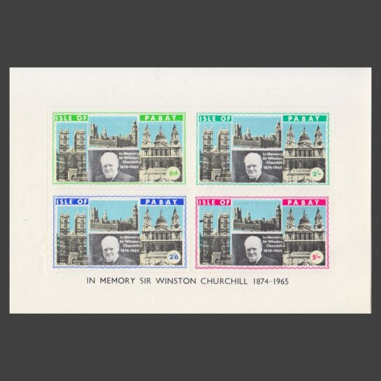 Pabay 1965 Churchill Perforate Miniature Sheet (4v, 6d to 5s, U/M)