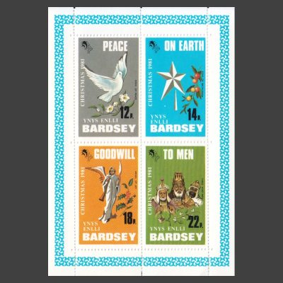 Bardsey 1981 Christmas Set in Sheetlet (4v, 12p to 22p, U/M)