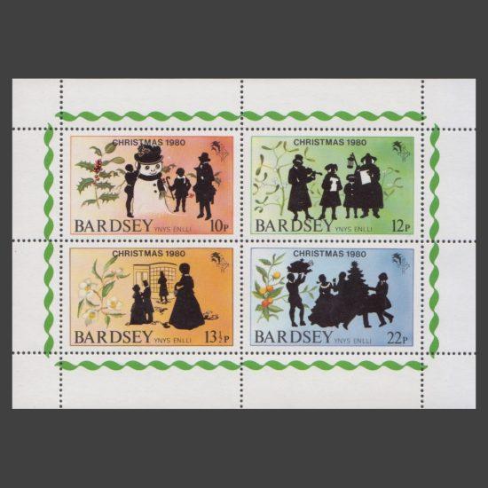 Bardsey 1980 Christmas Set in Sheetlet (4v, 10p to 22p, U/M)