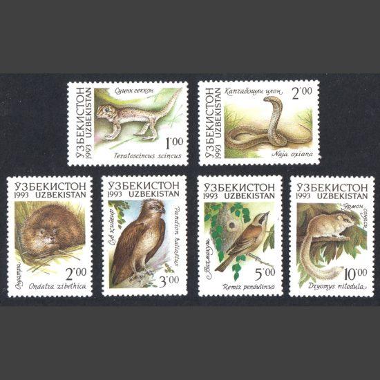 Uzbekistan 1993 Animals Part Set (SG 7-12, U/M)