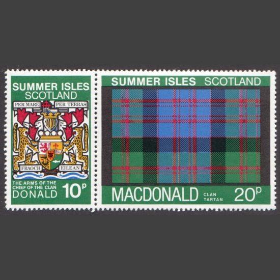 Summer Isles 1981 Clan Tartan - Macdonald Se-tenant Pair (2v, 10p and 20p, U/M)