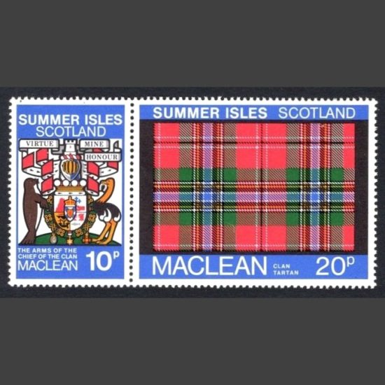 Summer Isles 1981 Clan Tartan - Maclean Se-tenant Pair (2v, 10p and 20p, U/M)