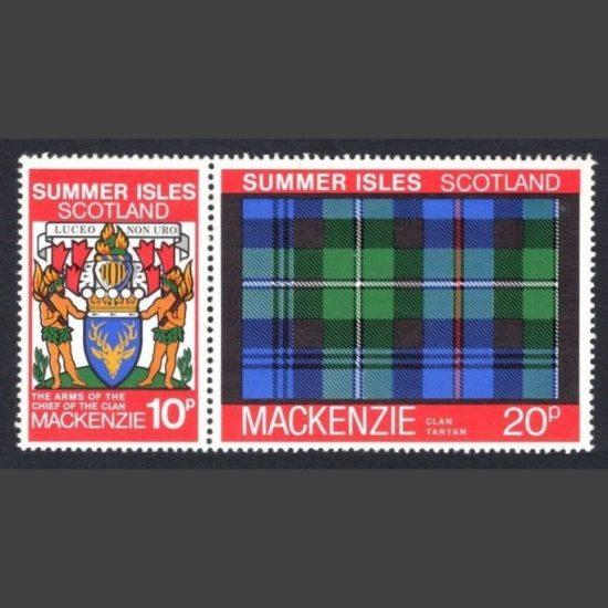 Summer Isles 1981 Clan Tartan - Mackenzie Se-tenant Pair (2v, 10p and 20p, U/M)