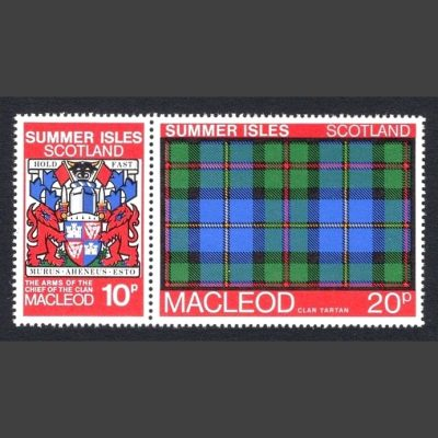 Summer Isles 1981 Clan Tartan - Macleod Se-tenant Pair (2v, 10p and 20p, U/M)