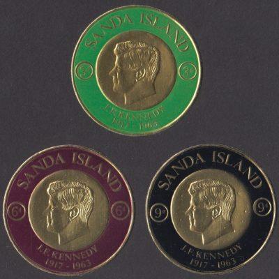 Sanda Island 1965 John F Kennedy Gold Foil Stamps (3v, 3d to 9d, U/M)